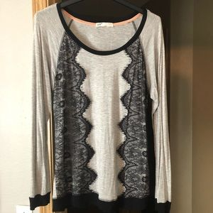 Jolt Gray and Black Lace Top